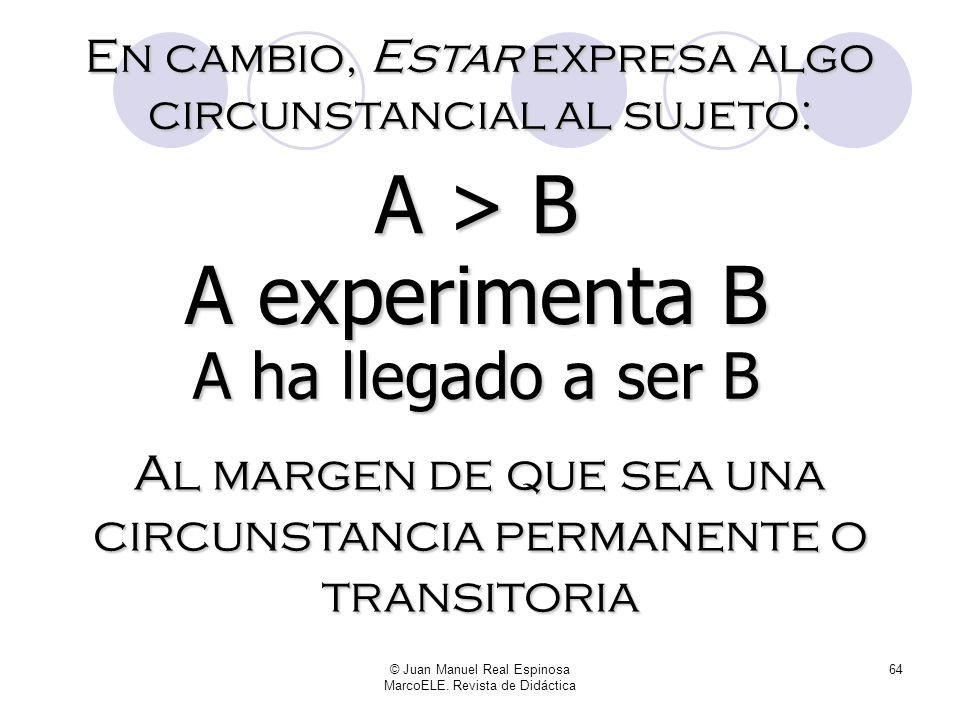 © Juan Manuel Real Espinosa MarcoELE. Revista de Didáctica 63 Ser expresa algo consustancial al sujeto: A es B A = B Al margen de que la cualidad que