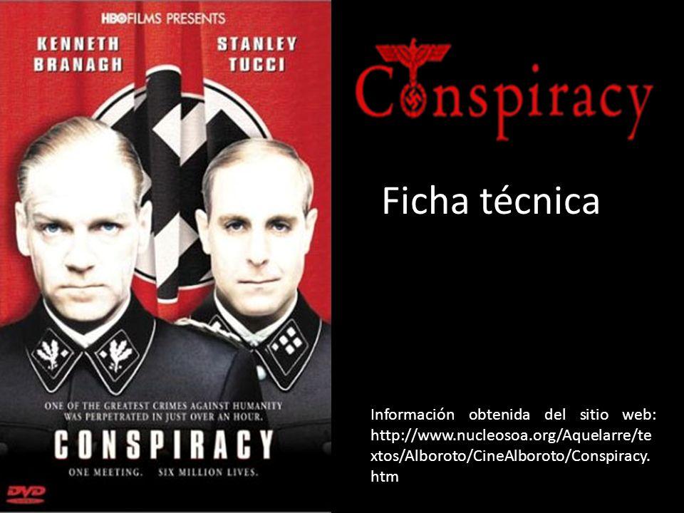Ficha técnica Información obtenida del sitio web: http://www.nucleosoa.org/Aquelarre/te xtos/Alboroto/CineAlboroto/Conspiracy.