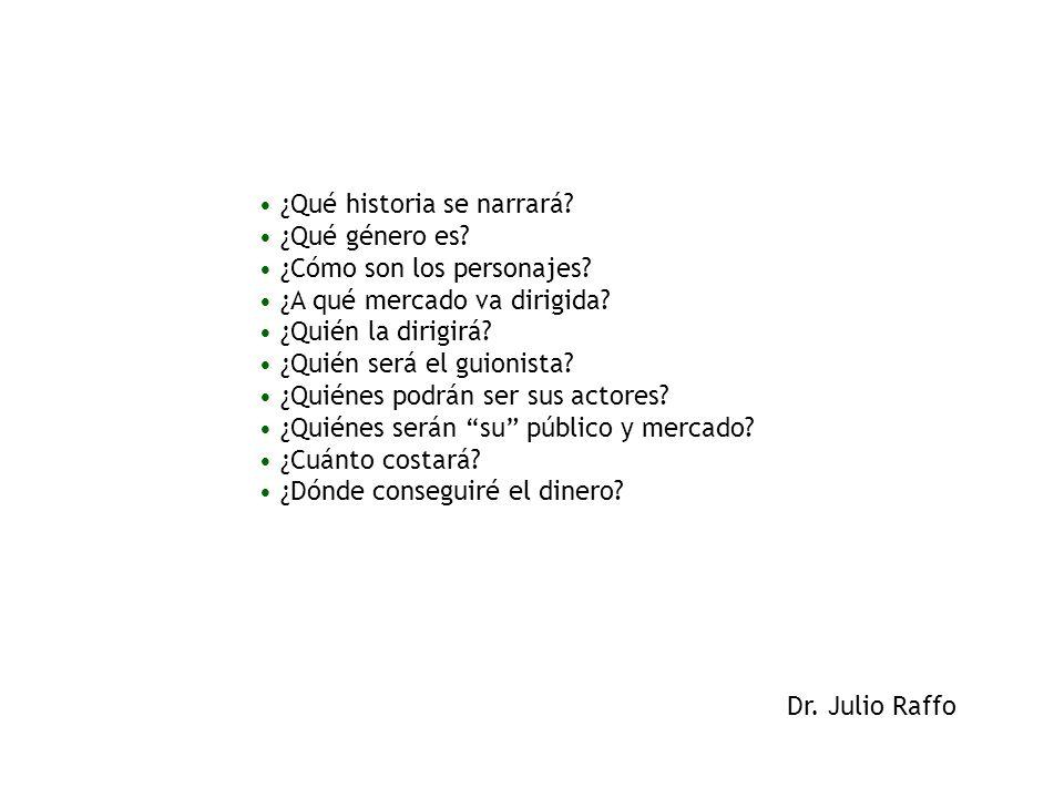 Dr. Julio Raffo ¿Qué historia se narrará? ¿Qué género es? ¿Cómo son los personajes? ¿A qué mercado va dirigida? ¿Quién la dirigirá? ¿Quién será el gui