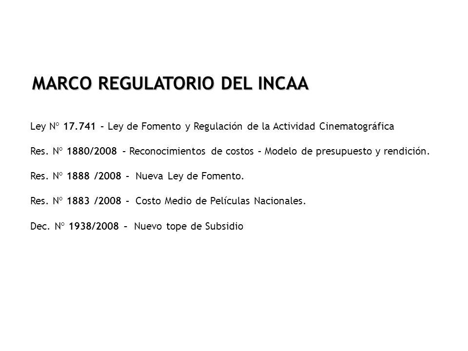 MARCO REGULATORIO DEL INCAA Ley Nº 17.741 – Ley de Fomento y Regulación de la Actividad Cinematográfica Res. Nº 1880/2008 – Reconocimientos de costos