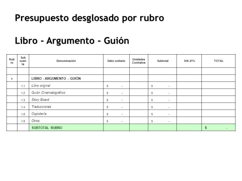 Presupuesto desglosado por rubro Rub ro Sub cuen ta DenominaciónValor unitario Unidades Contratos Subtotal IVA 21% TOTAL 1 LIBRO - ARGUMENTO - GUIÓN 1