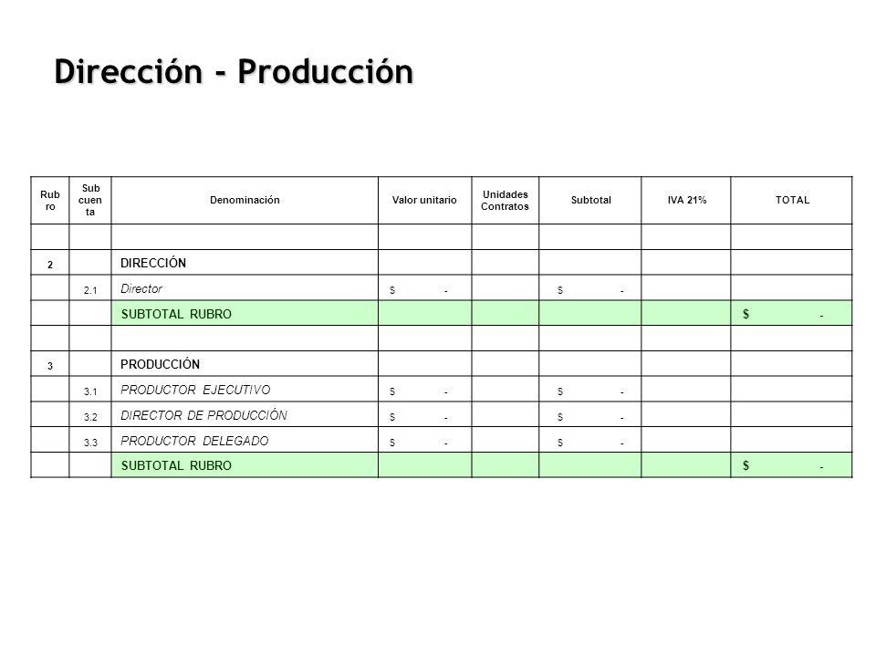 Rub ro Sub cuen ta DenominaciónValor unitario Unidades Contratos Subtotal IVA 21% TOTAL 2 DIRECCIÓN 2.1 Director $ - SUBTOTAL RUBRO $ - 3 PRODUCCIÓN 3