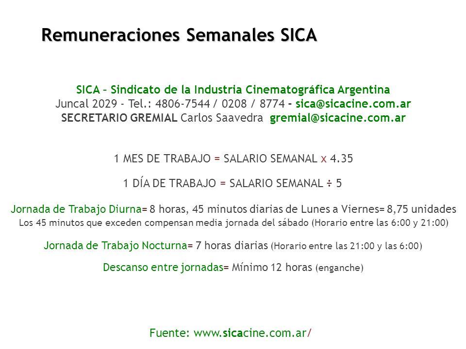 Remuneraciones Semanales SICA SICA – Sindicato de la Industria Cinematográfica Argentina Juncal 2029 - Tel.: 4806-7544 / 0208 / 8774 - sica@sicacine.c
