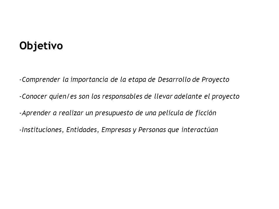 -Comprender la importancia de la etapa de Desarrollo de Proyecto -Conocer quien/es son los responsables de llevar adelante el proyecto -Aprender a rea