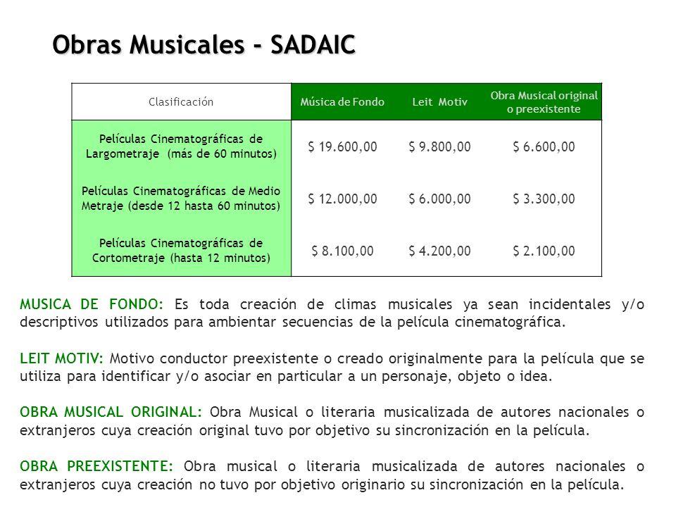 ClasificaciónMúsica de FondoLeit Motiv Obra Musical original o preexistente Películas Cinematográficas de Largometraje (más de 60 minutos) $ 19.600,00