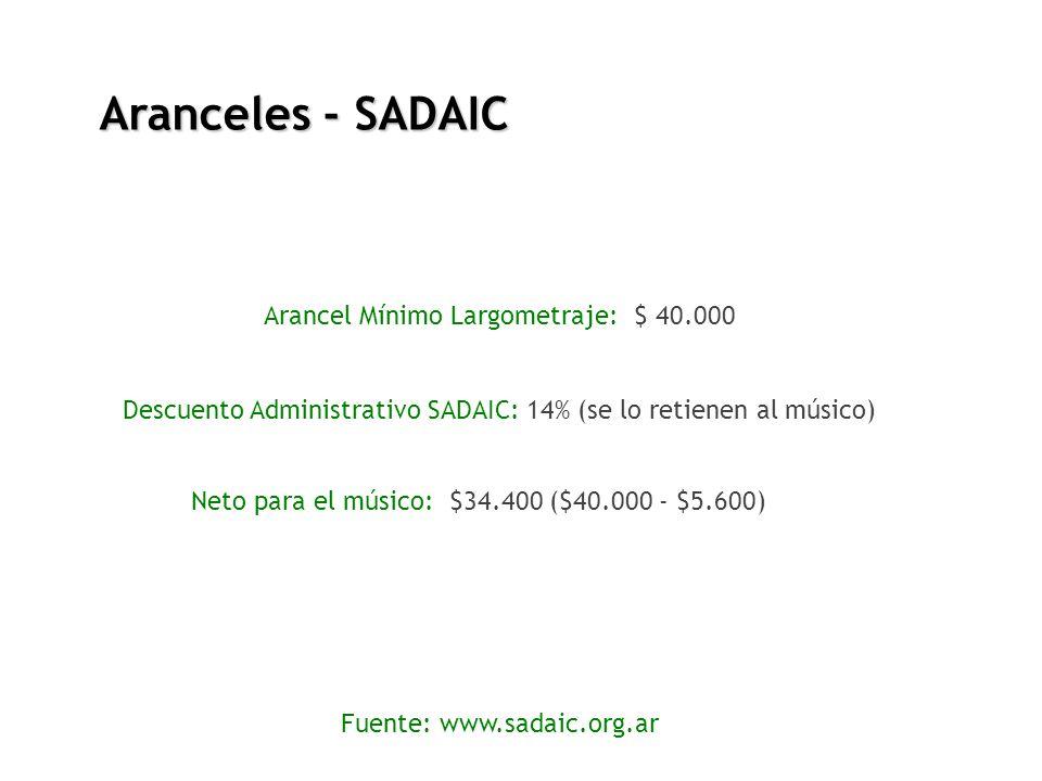 Aranceles - SADAIC Fuente: www.sadaic.org.ar Arancel Mínimo Largometraje: $ 40.000 Descuento Administrativo SADAIC: 14% (se lo retienen al músico) Net
