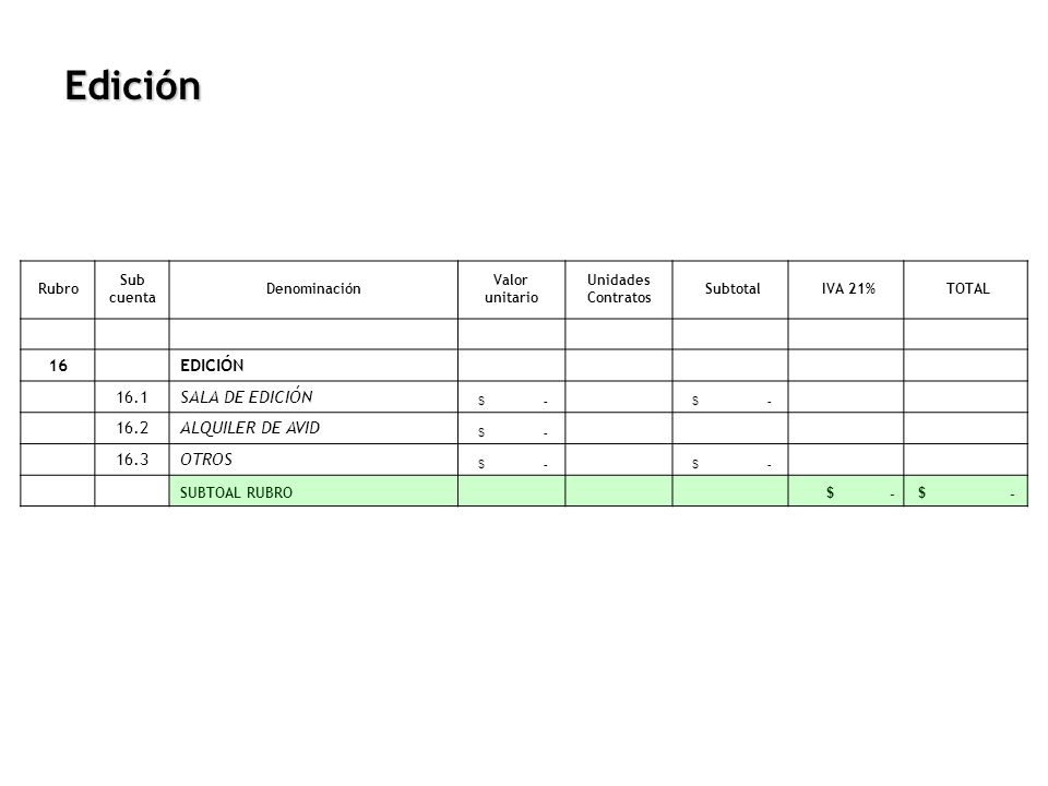 Edición Rubro Sub cuenta Denominación Valor unitario Unidades Contratos Subtotal IVA 21% TOTAL 16 EDICIÓN 16.1SALA DE EDICIÓN $ - 16.2ALQUILER DE AVID