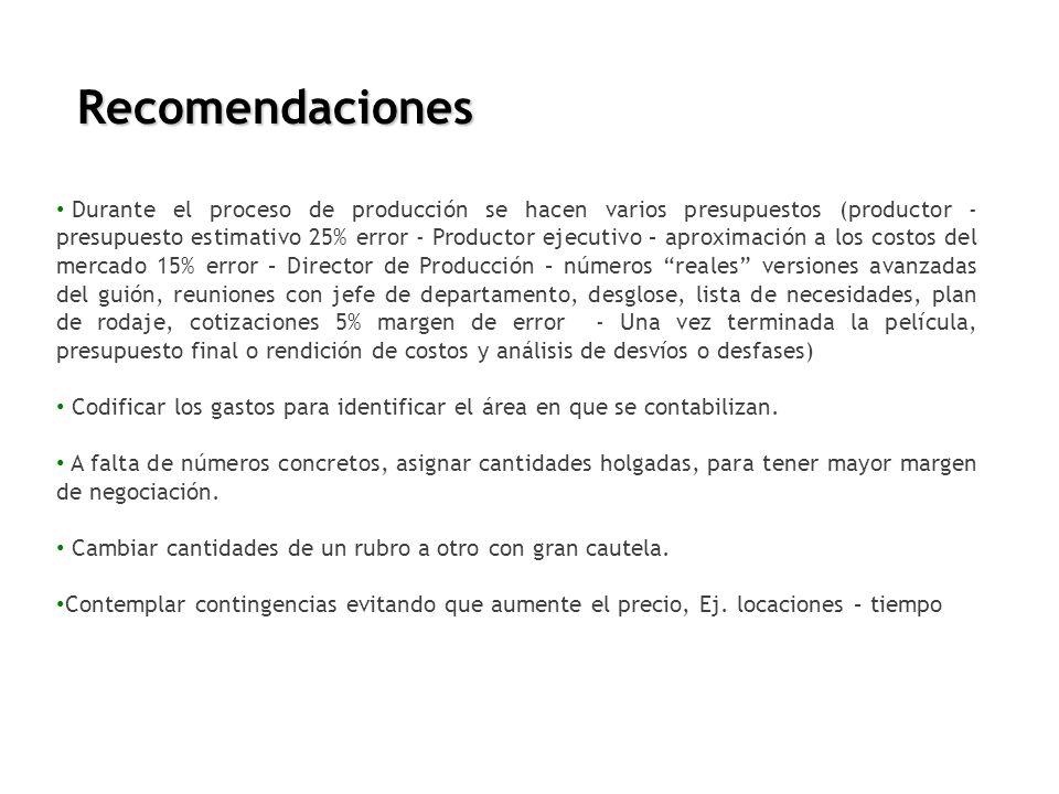 Recomendaciones Durante el proceso de producción se hacen varios presupuestos (productor - presupuesto estimativo 25% error - Productor ejecutivo – ap
