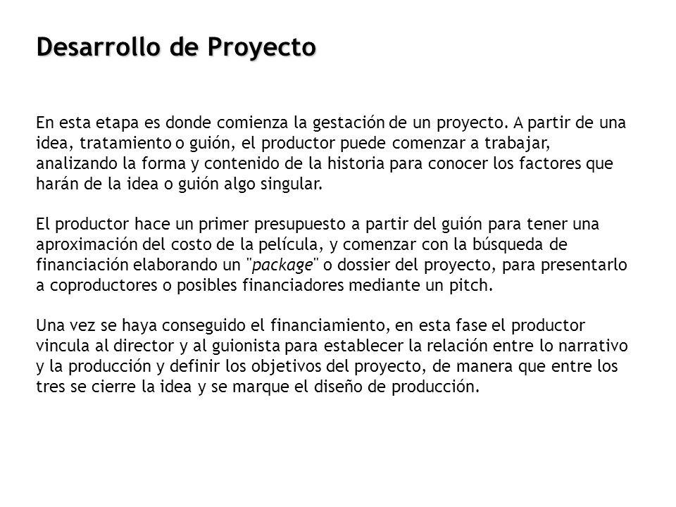 En esta etapa es donde comienza la gestación de un proyecto. A partir de una idea, tratamiento o guión, el productor puede comenzar a trabajar, analiz