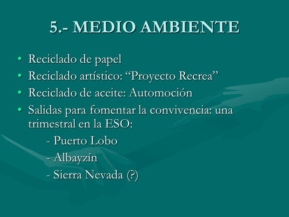 5.- MEDIO AMBIENTE Reciclado de papelReciclado de papel Reciclado artístico: Proyecto RecreaReciclado artístico: Proyecto Recrea Reciclado de aceite:
