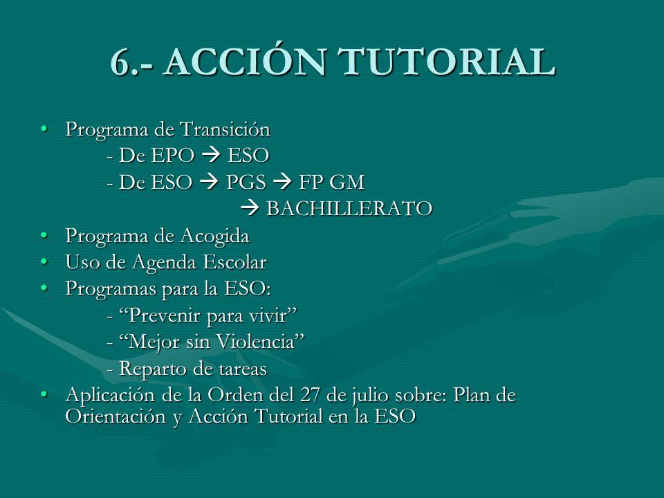 6.- ACCIÓN TUTORIAL Programa de TransiciónPrograma de Transición - De EPO ESO - De ESO PGS FP GM BACHILLERATO BACHILLERATO Programa de AcogidaPrograma