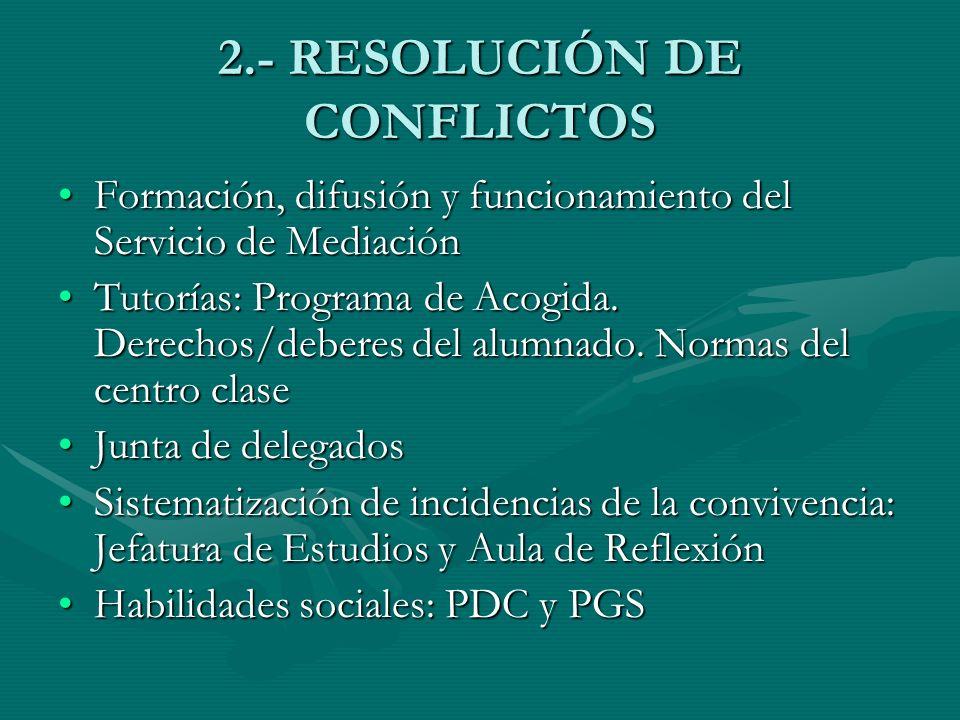 2.- RESOLUCIÓN DE CONFLICTOS Formación, difusión y funcionamiento del Servicio de MediaciónFormación, difusión y funcionamiento del Servicio de Mediac