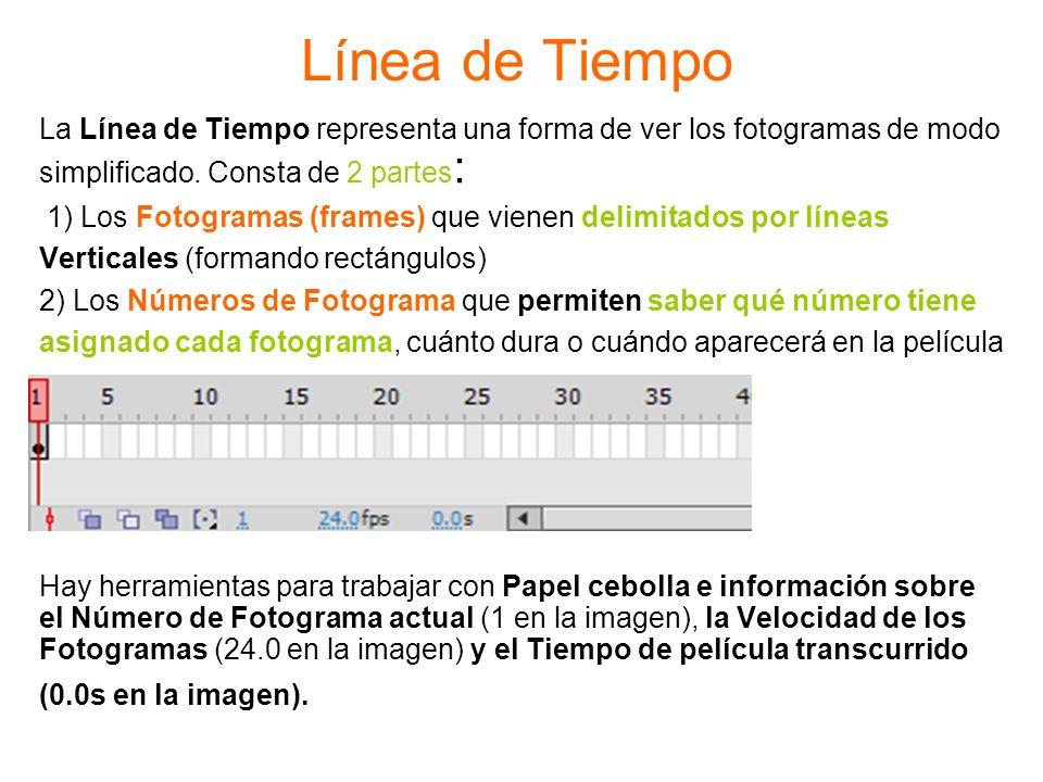 Línea de Tiempo La Línea de Tiempo representa una forma de ver los fotogramas de modo simplificado. Consta de 2 partes : 1) Los Fotogramas (frames) qu