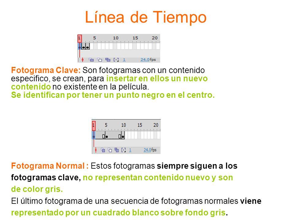 Línea de Tiempo Fotograma Clave: Son fotogramas con un contenido especifico, se crean, para insertar en ellos un nuevo contenido no existente en la pe
