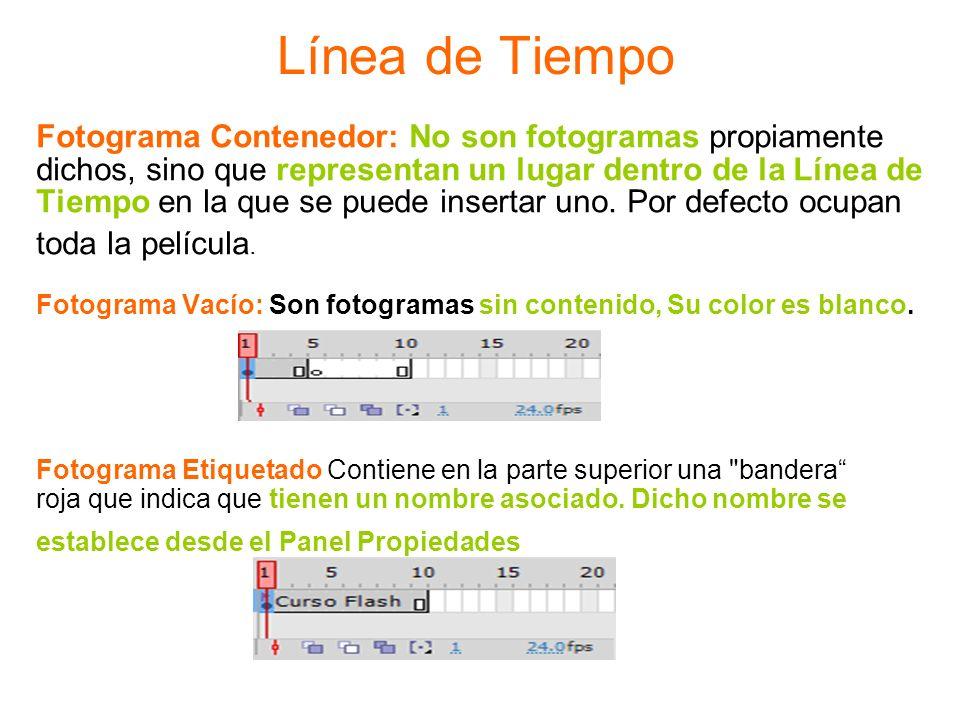 Línea de Tiempo Fotograma Contenedor: No son fotogramas propiamente dichos, sino que representan un lugar dentro de la Línea de Tiempo en la que se pu