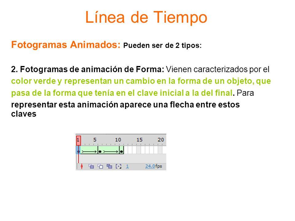 Línea de Tiempo Fotogramas Animados: Pueden ser de 2 tipos: 2. Fotogramas de animación de Forma: Vienen caracterizados por el color verde y representa