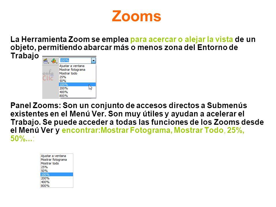 Zooms La Herramienta Zoom se emplea para acercar o alejar la vista de un objeto, permitiendo abarcar más o menos zona del Entorno de Trabajo Panel Zoo