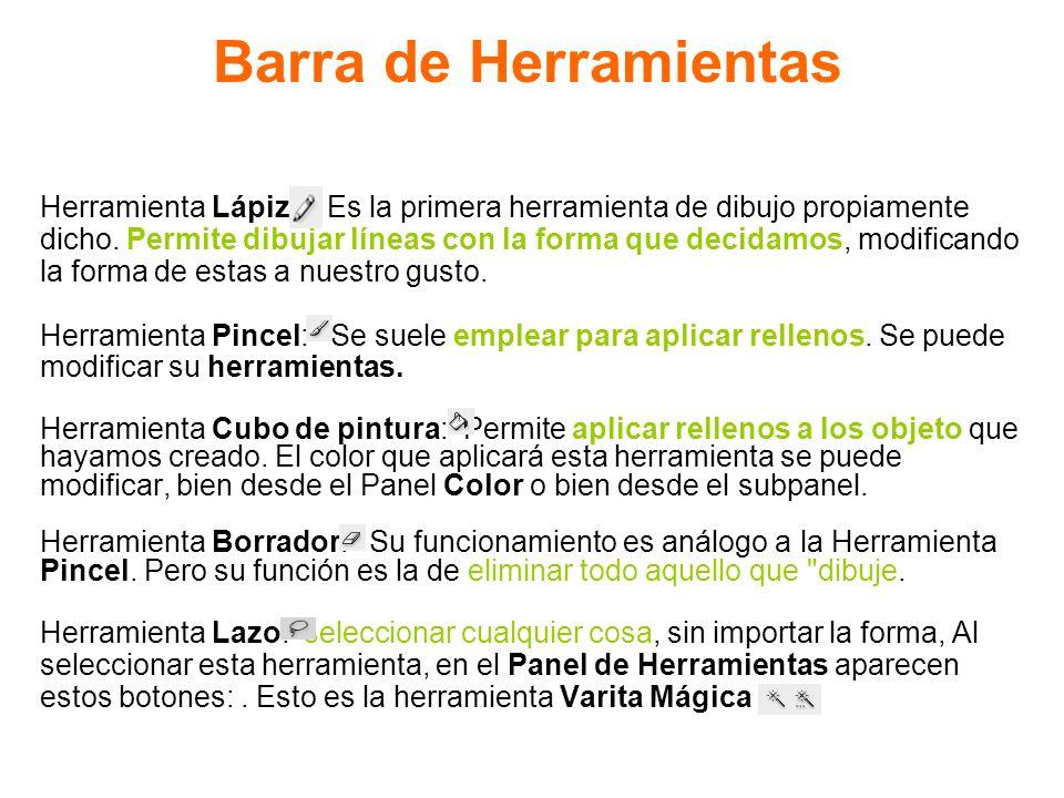 Barra de Herramientas Herramienta Lápiz: Es la primera herramienta de dibujo propiamente dicho. Permite dibujar líneas con la forma que decidamos, mod