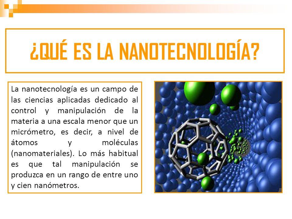 Nano, es un prefijo griego que indica una medida, no un objeto, de manera que la nanotecnología se caracteriza por ser un campo esencialmente multidisciplinar, y cohesionado exclusivamente por la escala de la materia con la que trabaja.