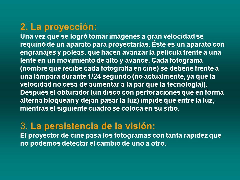 2. La proyección: Una vez que se logró tomar imágenes a gran velocidad se requirió de un aparato para proyectarlas. Éste es un aparato con engranajes