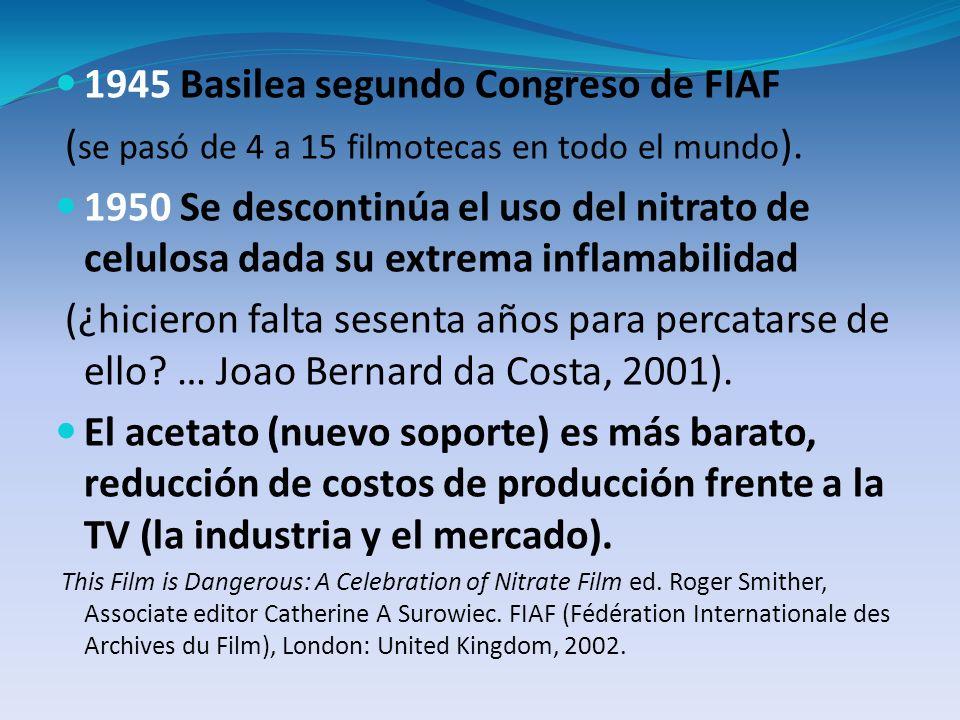 1945 Basilea segundo Congreso de FIAF ( se pasó de 4 a 15 filmotecas en todo el mundo ). 1950 Se descontinúa el uso del nitrato de celulosa dada su ex