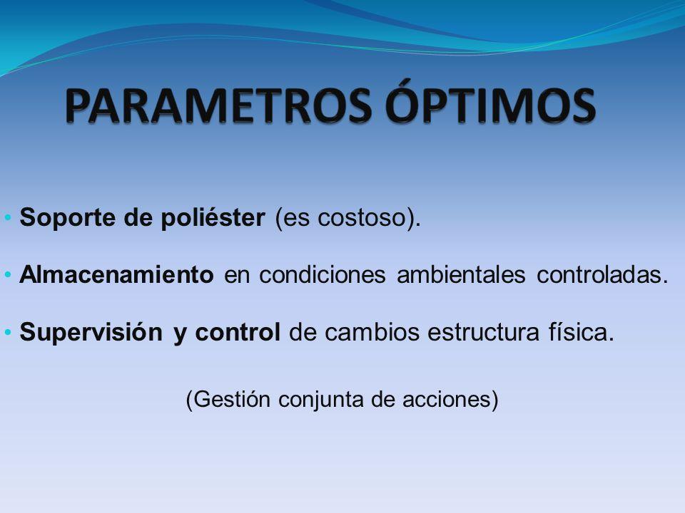 Soporte de poliéster (es costoso). Almacenamiento en condiciones ambientales controladas. Supervisión y control de cambios estructura física. (Gestión