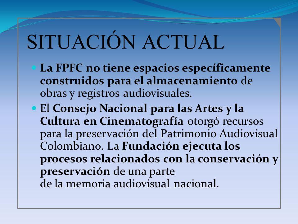 SITUACIÓN ACTUAL La FPFC no tiene espacios específicamente construidos para el almacenamiento de obras y registros audiovisuales. El Consejo Nacional