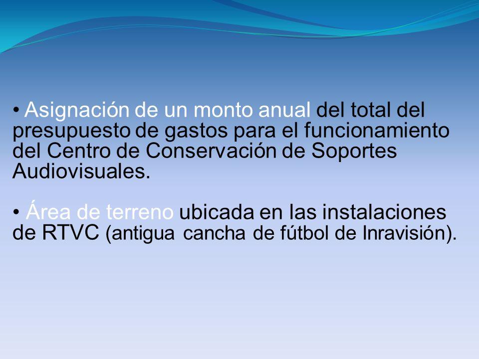 Asignación de un monto anual del total del presupuesto de gastos para el funcionamiento del Centro de Conservación de Soportes Audiovisuales. Área de