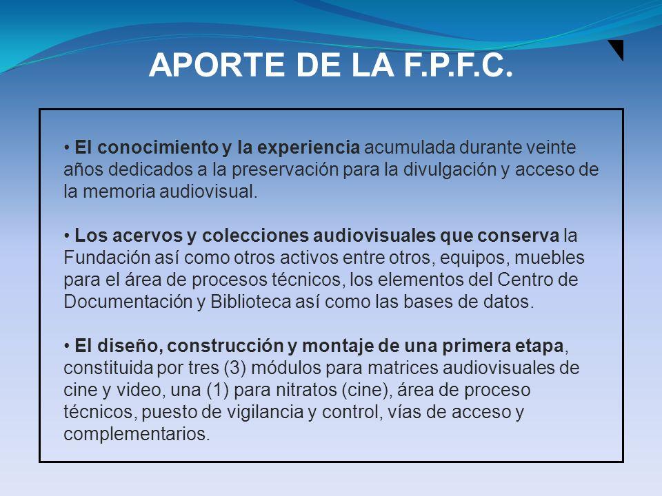 APORTE DE LA F.P.F.C. El conocimiento y la experiencia acumulada durante veinte años dedicados a la preservación para la divulgación y acceso de la me