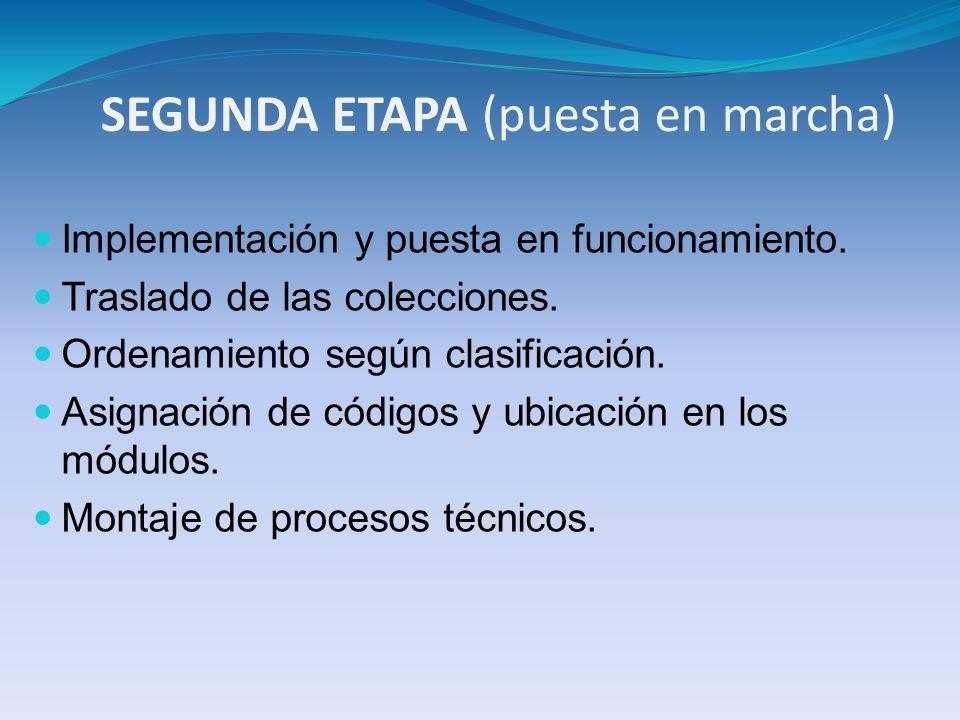 SEGUNDA ETAPA (puesta en marcha) Implementación y puesta en funcionamiento. Traslado de las colecciones. Ordenamiento según clasificación. Asignación