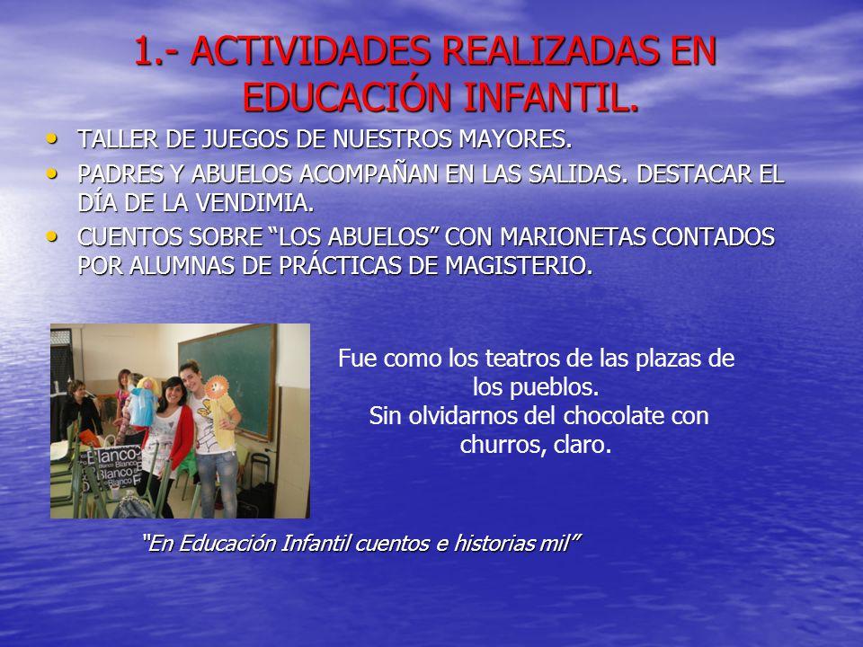 1.- ACTIVIDADES REALIZADAS EN EDUCACIÓN INFANTIL.TALLER DE JUEGOS DE NUESTROS MAYORES.