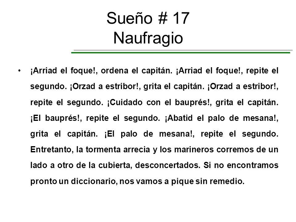 Sueño # 17 Naufragio ¡Arriad el foque!, ordena el capitán. ¡Arriad el foque!, repite el segundo. ¡Orzad a estribor!, grita el capitán. ¡Orzad a estrib