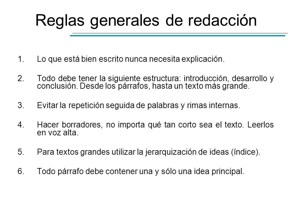 Reglas generales de redacción 1.Lo que está bien escrito nunca necesita explicación. 2.Todo debe tener la siguiente estructura: introducción, desarrol