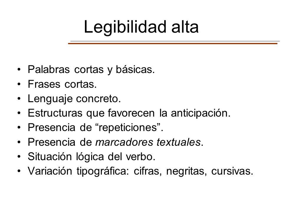 Legibilidad alta Palabras cortas y básicas. Frases cortas. Lenguaje concreto. Estructuras que favorecen la anticipación. Presencia de repeticiones. Pr