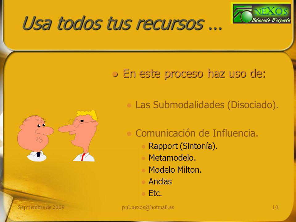 Septiembre de 2009pnl.nexos@hotmail.es10 Usa todos tus recursos … En este proceso haz uso de: Las Submodalidades (Disociado). Comunicación de Influenc