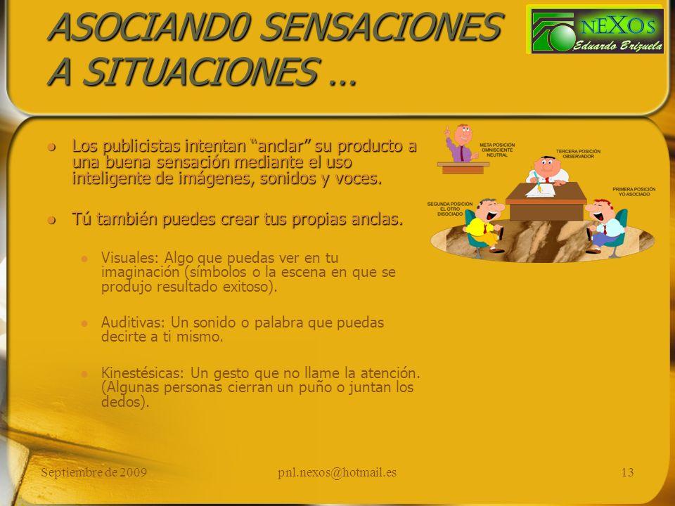 Septiembre de 2009pnl.nexos@hotmail.es13 ASOCIAND0 SENSACIONES A SITUACIONES … Los publicistas intentan anclar su producto a una buena sensación media