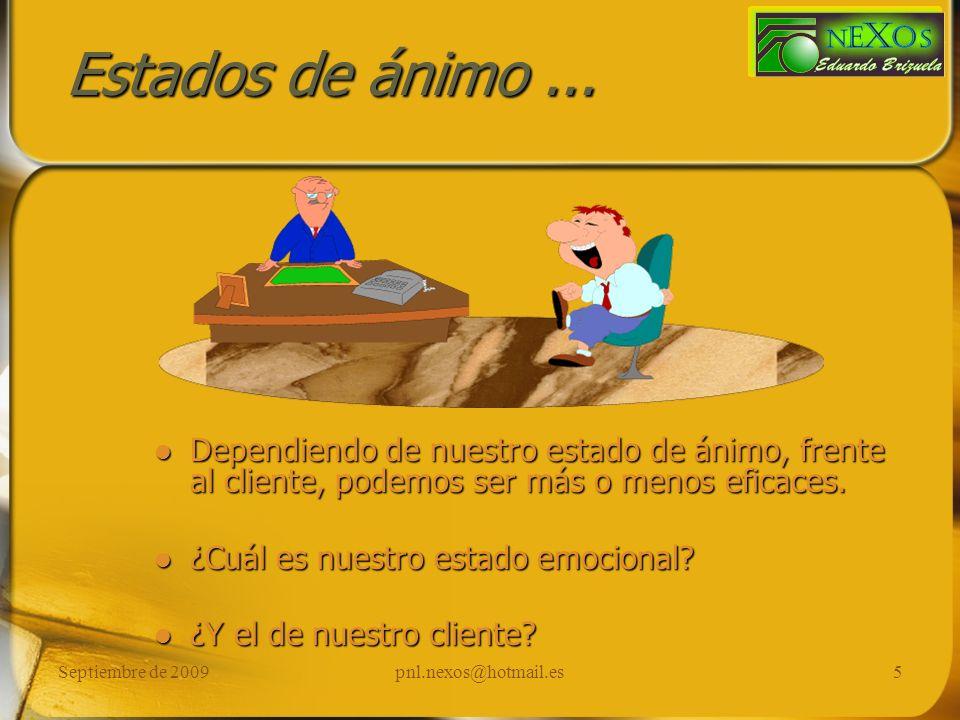 Septiembre de 2009pnl.nexos@hotmail.es6 Ensayo mental para el éxito … Imagina la escena de mayor éxito que recuerdes.