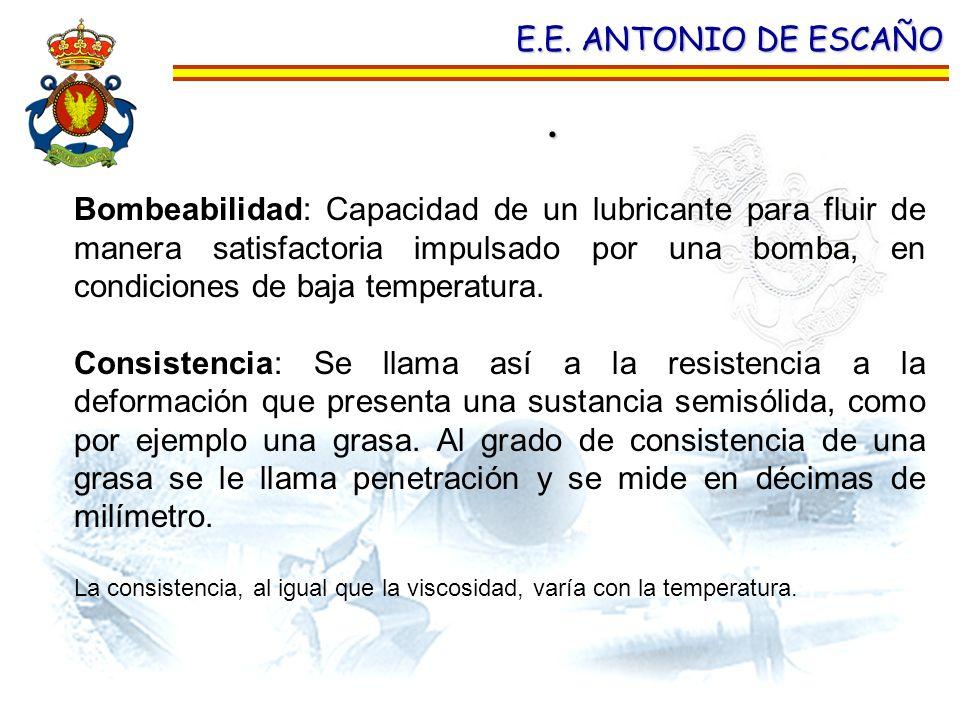 . E.E. ANTONIO DE ESCAÑO Bombeabilidad: Capacidad de un lubricante para fluir de manera satisfactoria impulsado por una bomba, en condiciones de baja