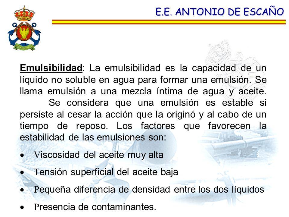 E.E. ANTONIO DE ESCAÑO Emulsibilidad: La emulsibilidad es la capacidad de un líquido no soluble en agua para formar una emulsión. Se llama emulsión a