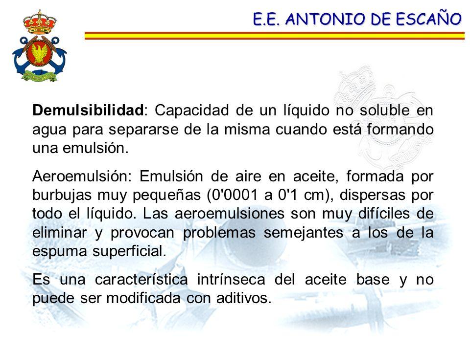E.E. ANTONIO DE ESCAÑO Demulsibilidad: Capacidad de un líquido no soluble en agua para separarse de la misma cuando está formando una emulsión. Aeroem