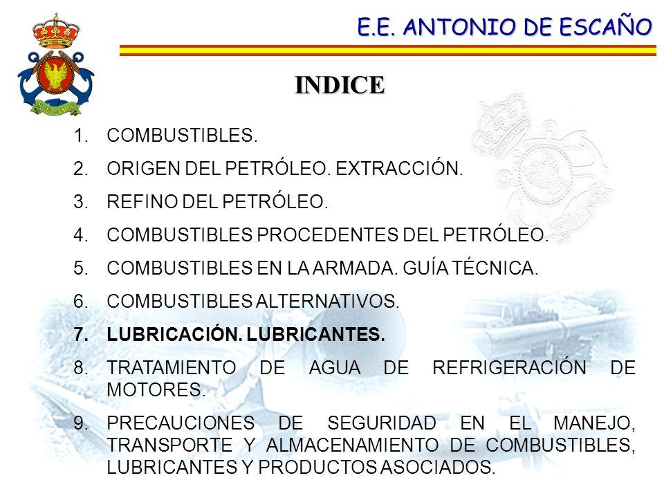INDICE E.E. ANTONIO DE ESCAÑO 1.COMBUSTIBLES. 2.ORIGEN DEL PETRÓLEO. EXTRACCIÓN. 3.REFINO DEL PETRÓLEO. 4.COMBUSTIBLES PROCEDENTES DEL PETRÓLEO. 5.COM