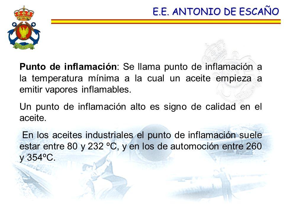 E.E. ANTONIO DE ESCAÑO Punto de inflamación: Se llama punto de inflamación a la temperatura mínima a la cual un aceite empieza a emitir vapores inflam