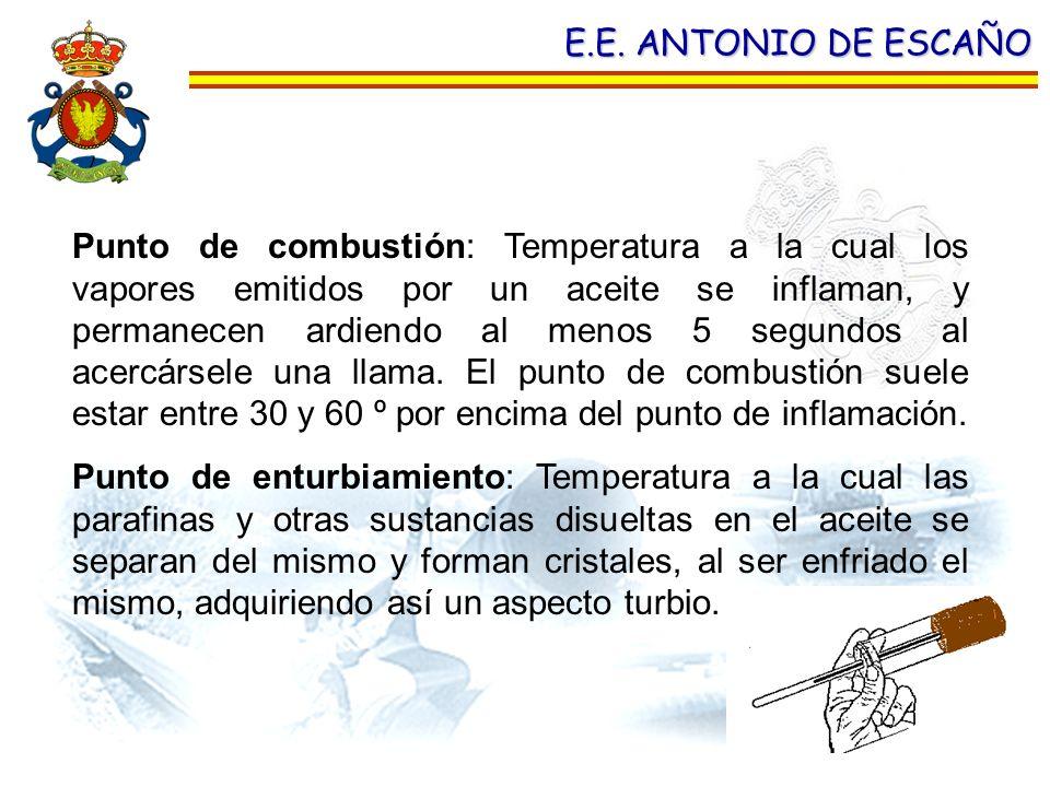 E.E. ANTONIO DE ESCAÑO Punto de combustión: Temperatura a la cual los vapores emitidos por un aceite se inflaman, y permanecen ardiendo al menos 5 seg