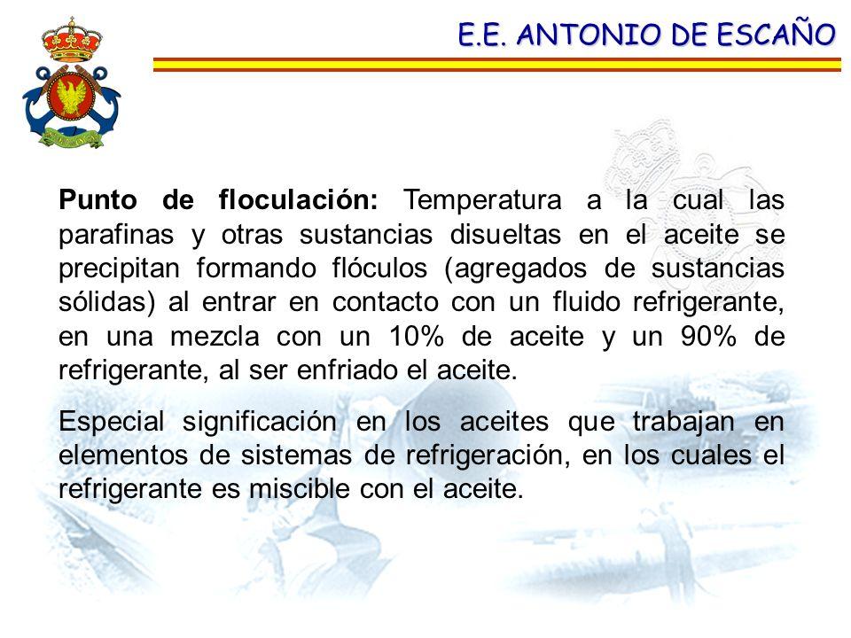 E.E. ANTONIO DE ESCAÑO Punto de floculación: Temperatura a la cual las parafinas y otras sustancias disueltas en el aceite se precipitan formando flóc