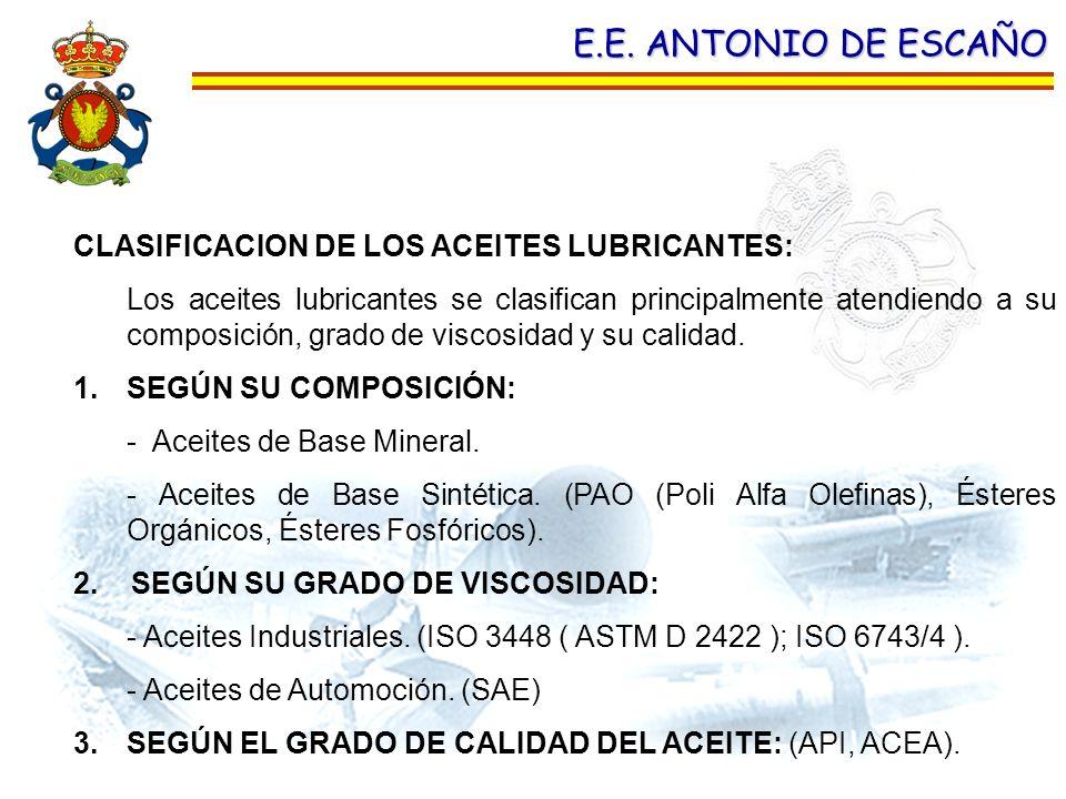 E.E. ANTONIO DE ESCAÑO CLASIFICACION DE LOS ACEITES LUBRICANTES: Los aceites lubricantes se clasifican principalmente atendiendo a su composición, gra