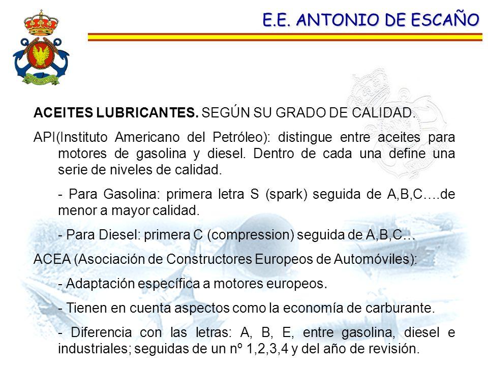 E.E. ANTONIO DE ESCAÑO ACEITES LUBRICANTES. SEGÚN SU GRADO DE CALIDAD. API(Instituto Americano del Petróleo): distingue entre aceites para motores de