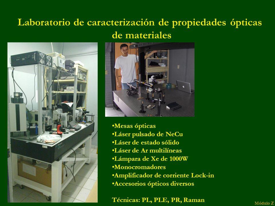 Laboratorio de caracterización de propiedades ópticas de materiales Módulo Z Mesas ópticas Láser pulsado de NeCu Láser de estado sólido Láser de Ar multilíneas Lámpara de Xe de 1000W Monocromadores Amplificador de corriente Lock-in Accesorios ópticos diversos Técnicas: PL, PLE, PR, Raman