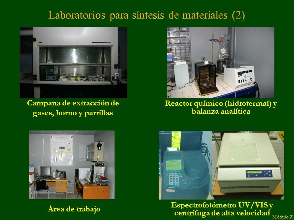 Laboratorios para síntesis de materiales (2) Campana de extracción de gases, horno y parrillas Reactor químico (hidrotermal) y balanza analítica Área de trabajo Módulo Z Espectrofotómetro UV/VIS y centrífuga de alta velocidad