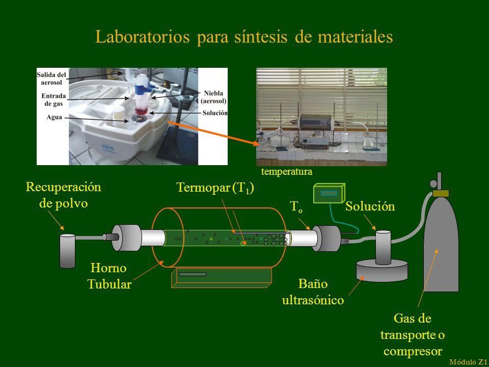 Recuperación de polvo Gas de transporte o compresor Horno Tubular Termopar (T 1 ) Baño ultrasónico SoluciónToTo Lector de temperatura Laboratorios para síntesis de materiales Módulo Z1