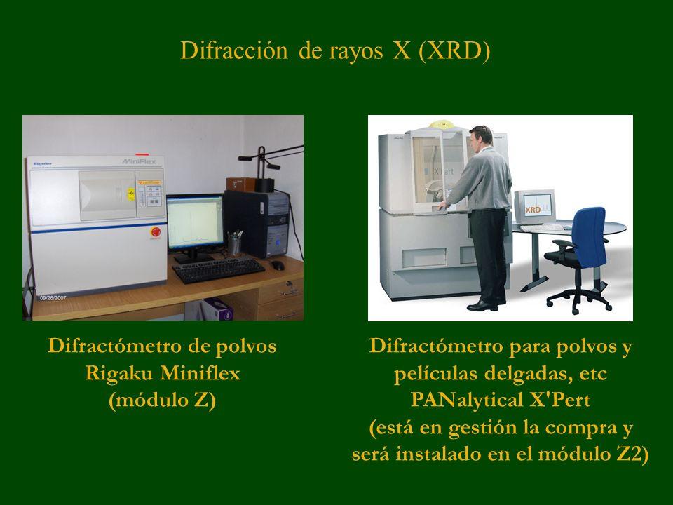 Difractómetro de polvos Rigaku Miniflex (módulo Z) Difractómetro para polvos y películas delgadas, etc PANalytical X Pert (está en gestión la compra y será instalado en el módulo Z2) Difracción de rayos X (XRD)